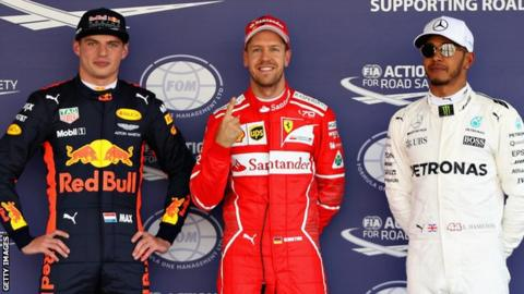 Max Verstappen, Sebastian Vettel and Lewis Hamilton after qualifying