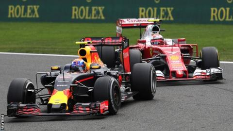 Max Verstappen and Kimi Raikkonen during the Belgian F1 Grand Prix