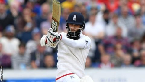 Moeen Ali plays a pull shot