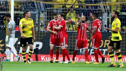 Bayern Munich against Borussia Dortmund in the German Super Cup
