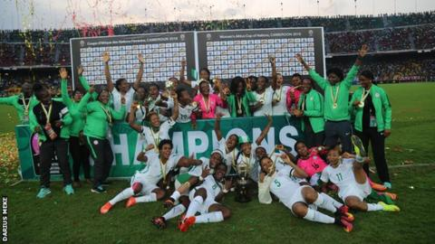 Nigeria celebrate winning the Women's Africa Cup of Nations