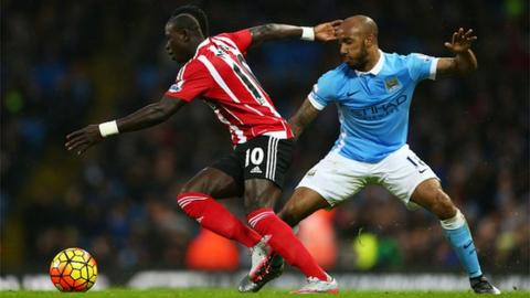 Sadio Mane and Fabian Delph jostle for the ball in the reverse fixture