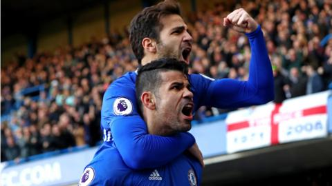 Cesc Fabregas and Diego Costa celebrate