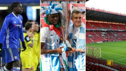 Kurt Zouma of Chelsea (left), Coventry collect EFL Trophy at Wembley and small crowd at Charlton