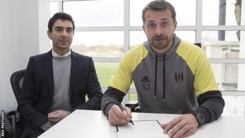 Fulham vice chairman Tony Khan and manager Slavisa Jokanovic