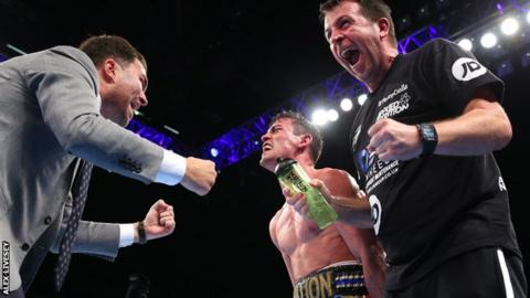 Promoter Eddie Hearn, boxer Anthony Crolla and his trainer Joe Gallagher
