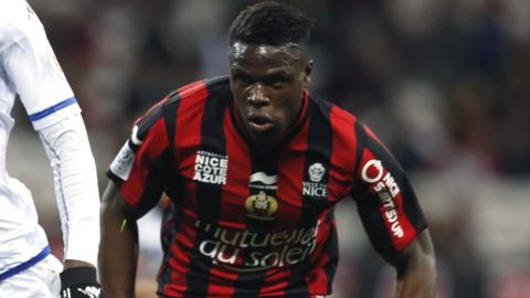 Kevin Gomis in action for Nice against Troyes in Ligue 1 last season