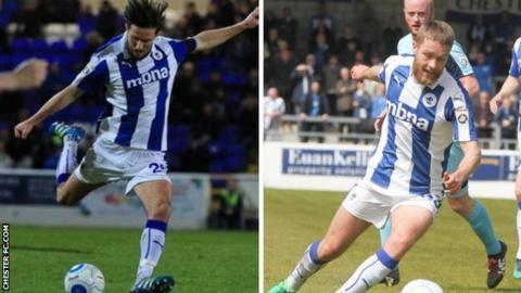 Chester midfielders Lucas Dawson (left) and Liam Davies