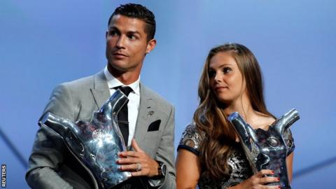 Image result for Cristiano Ronaldo wins UEFA's player of the Year award