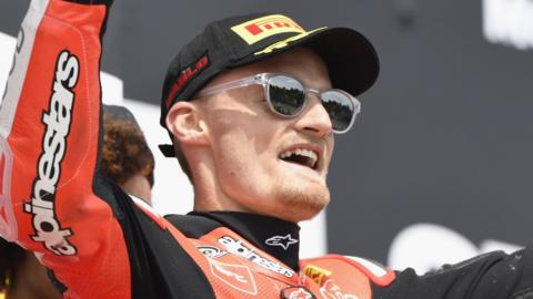 Chaz Davies won ahead of Jonathan Rea and Tom Sykes in both races at Imolas