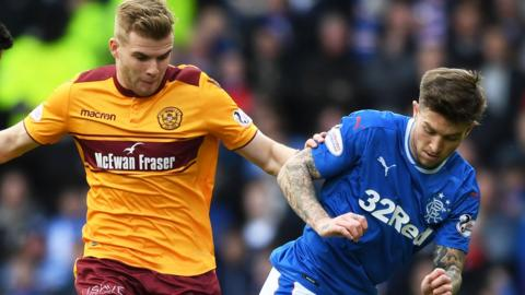 Motherwell's Chris Cadden contests the ball with Rangers' Josh Windass