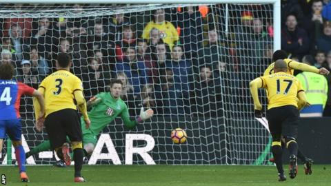 Troy Deeney's penalty denied Sam Allardyce a victory in his first game as Crystal Palace manager.