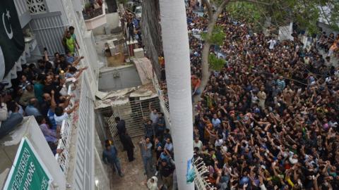 Fans outside Sarfraz Ahmed's home