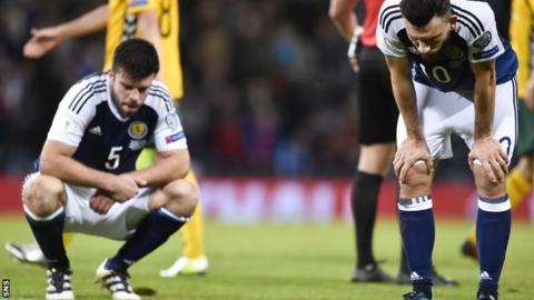 Grant Hanley and Robert Snodgrass look dejected at full-time