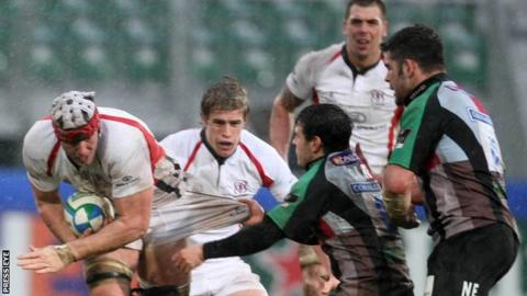 Stephen Ferris on the charge for Ulster against Harlequins in their Heineken Cup game at Ravenhill in 2009