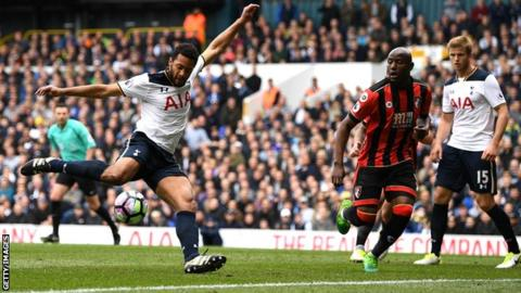 Mousa Dembele shooting in the game against Bournemouth last season