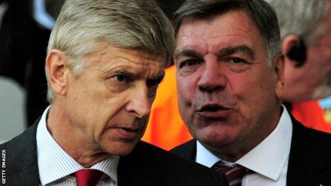Arsenal manager Arsene Wenger and Sunderland manager Sam Allardyce