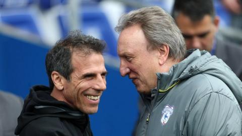 Rival managers Gianfranco Zola and Neil Warnock share a joke before kick-off in Cardiff