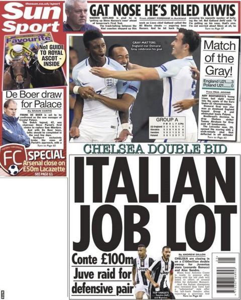 The Sun say Chelsea are preparing bids for Juventus pair Leonardo Bonucci and Alex Sandro