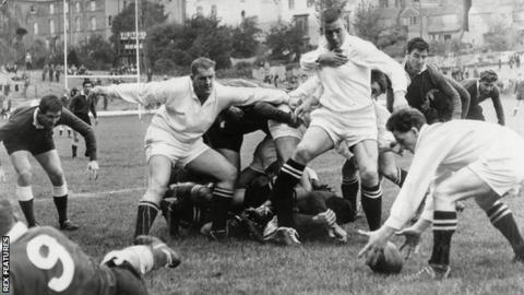 Action shot, Swansea v Llanelli, 1962