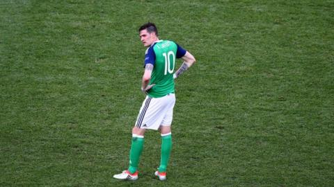 Northern Ireland striker Kyle Lafferty cut a frustrated figure against Poland.