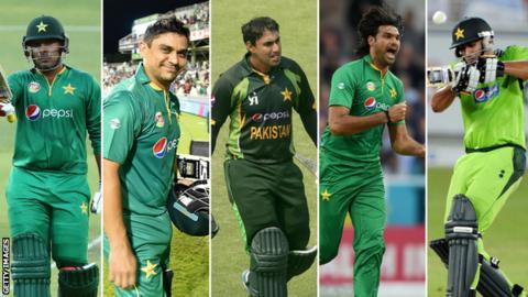 Sharjeel Khan, Khalid Latif, Nasir Jamshed, Mohammad Irfan and Shahzaib Hasan