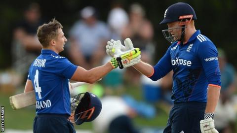 Jonny Bairstow congratulates James Taylor on his century
