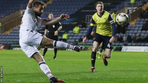 Filipe Morais scores Bolton's opening goal against Oxford United