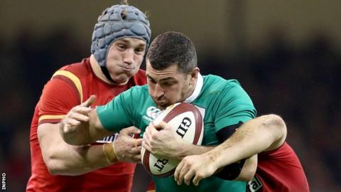 Rob Kearney in action against Wales on 10 March