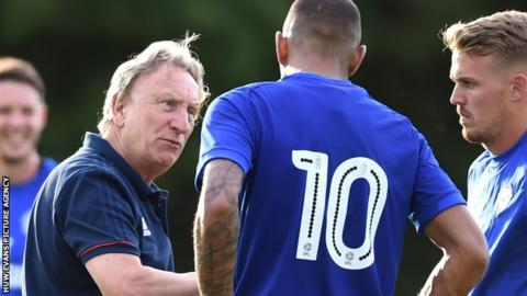Cardiff City boss Neil Warnock makes a point to Kenneth Zohore (wearing 10) during their 7-2 win over AFC Tavistock
