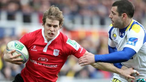 Ulster wing Andrew Trimble is tackled by Clermont's Julien Malzieu