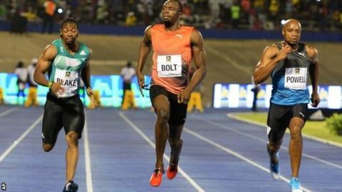 (l-r) Yohan Blake, Usain Bolt, Asafa Powell