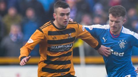 Michael Duffy in action for Alloa against Rangers last season