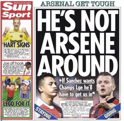 The Sun say Arsenal manager Arsene Wenger will reject all offers for striker Alexis Sanchez