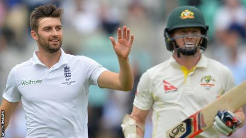 Mark Wood (left) took the wicket of Chris Rogers (right)