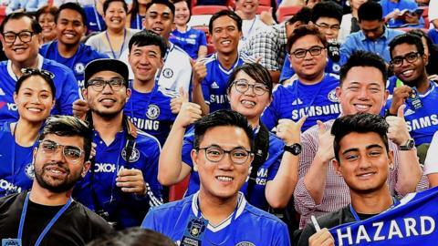 Chelsea fans in Singapore