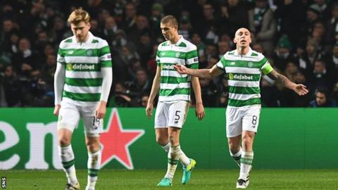 Celtic's Stuart Armstrong Jozo Simunovic and Scott Brown