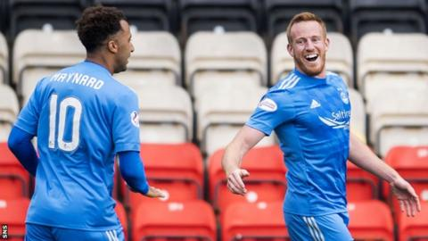 Aberdeen's Nicky Maynard and Adam Rooney celebrate against Partick Thistle