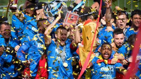 Club Brugge celebrate winning the Belgian championship