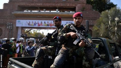 Security forces in Lahore