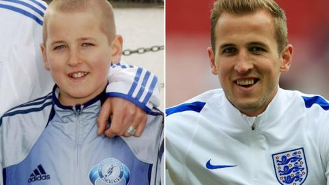 Harry Kane as a child (left) and then training for England (right)