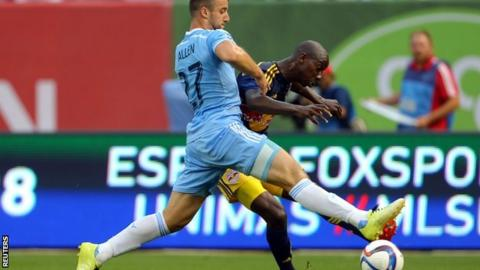 Bradley Wright-Phillips (right) scored for New York Red Bulls in their derby win over New York City FC
