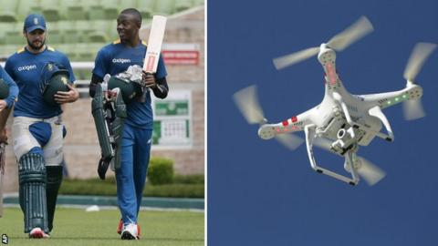 South Africa players and a drone