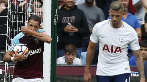 West Ham's Javier Hernandez celebrates pullinga goal back for West Ham