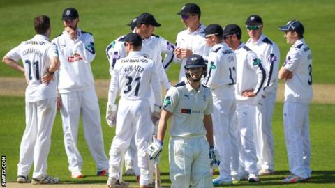 Hampshire celebrate a Yorkshire wicket