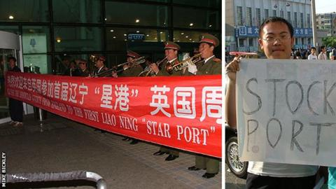 Military band greets Stockport plus a Chinese Stockport fan