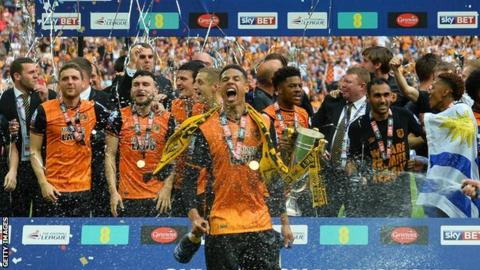 Hull City celebrate winning the Championship play-off final at Wembley in May 2016.