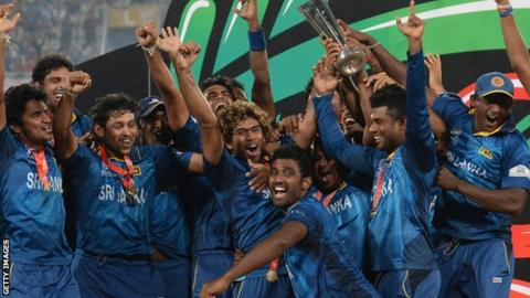 Sri Lanka celebrate winning the World T20