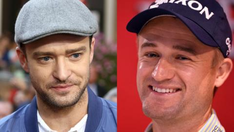 Justin Timberlake, left, and Russell Knox
