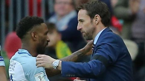 Jermain Defoe (left) and England boss Gareth Southgate